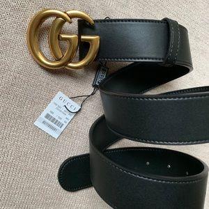 New Gucci Marmot GG Gold Belt Women Leather G